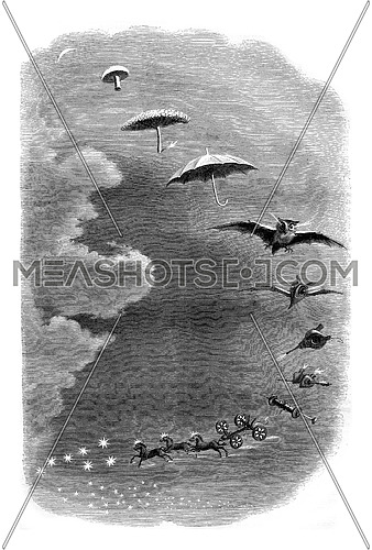 Second dream, A walk in the sky, vintage engraved illustration. Magasin Pittoresque 1847.
