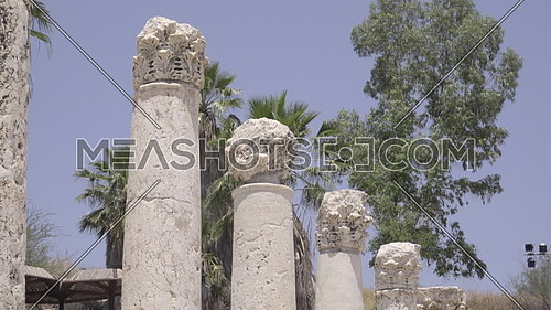 Scene of the columns at Beit Shean archeological ruins