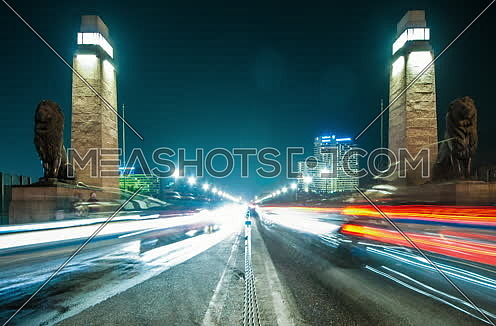 Zoom In Shot for Qasr Al Nile Bridge from Day to Night