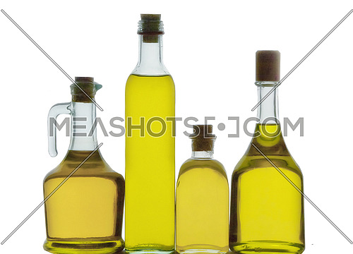 Bottles of olive oil isolated on a white background