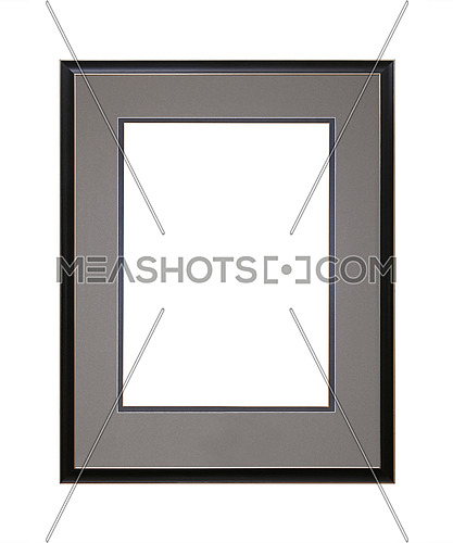 Vintage old wooden classic black painted vertical rectangular frame with grey cardboard mat (passe partout mount) for picture or photo, isolated on white background, close up