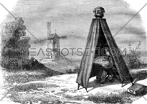Portable darkroom Nollet, vintage engraved illustration. Magasin Pittoresque 1876.