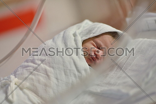 cute healthy new born baby portrait in hospital
