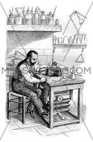 Torch and lamp Enameller, vintage engraved illustration. Magasin Pittoresque 1861.