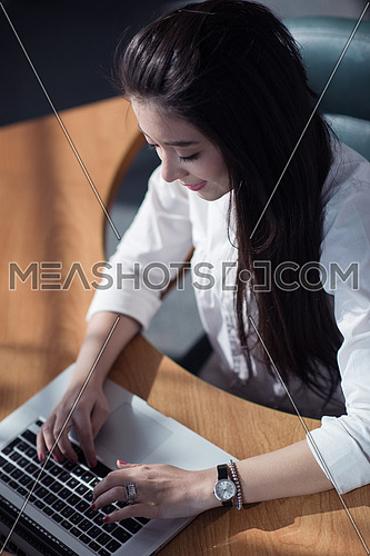 young female executive typing on a computer in a modern office
