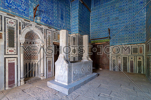 Tomb of Ibrahim Agha Mustahfizan, attached to the Mosque of Aqsunqur (Blue Mosque), Bab El Wazir district, Old Cairo, Egypt
