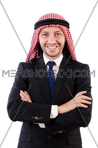 Arab man in confident concept isolated on white