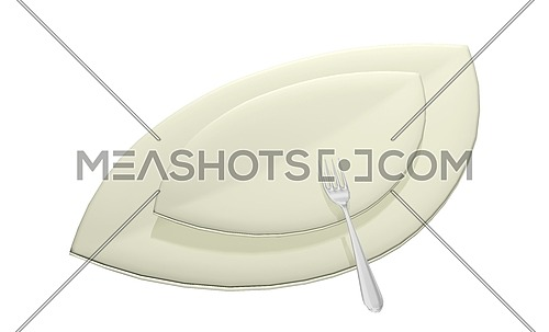 Leaf shaped serving dishes with fork, 3D illustration, isolated against a white background