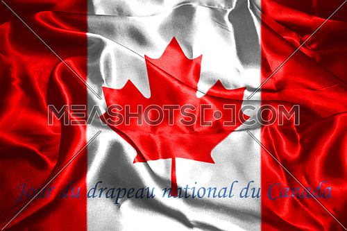 Canadian National Flag With Maple Leaf On It And Text In French Jour du drapeau national du Canada, meaning, National Flag Of Canada Day