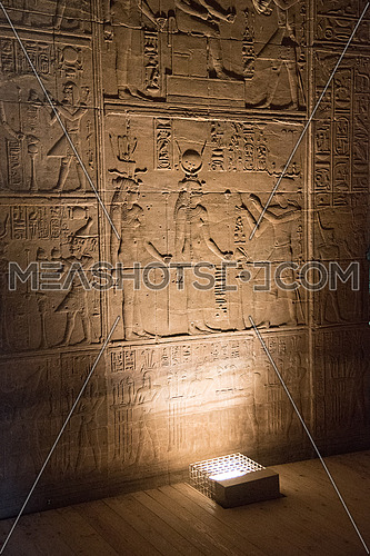 Queen Hathor on a wall on Isis Temple in Philae Island in Aswan