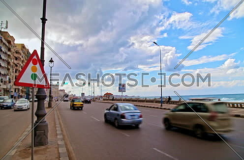 Fixed shot for traffic in Kornich Street at Alexandria at day