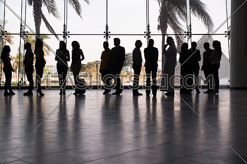 silhouette of multi ethnic people group on meeting and posing by window