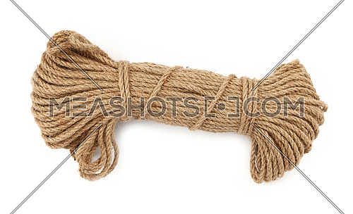 One big coil skein of natural brown twine hessian burlap jute rope isolated on white background, close up, elevated top view, high angle, directly above