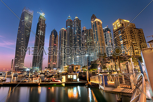 Dubai Marina cityscape at night