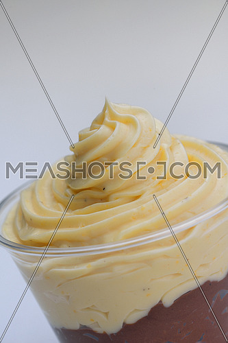 chocolate and vanilla ice cream sweet dessert closeup isolated on white background