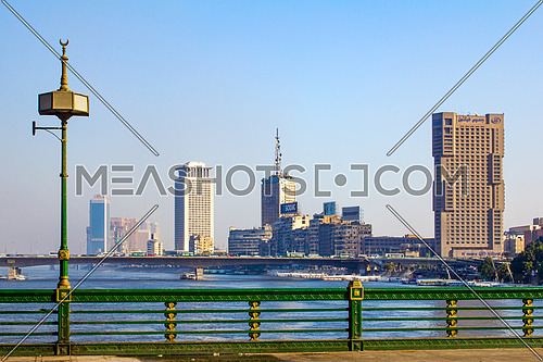 A shot of the river nile in cairo showing the Egyptian television  headquarters