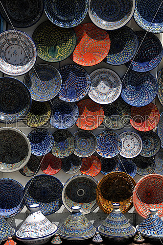 africa and tunis colorful ceramics gift suvenir outdoor on street market