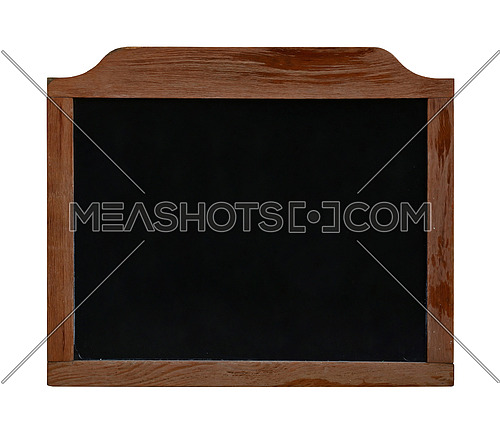 Old black school chalkboard blackboard sign in vintage brown wooden frame isolated on white background, close up