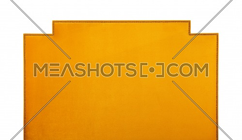 Yellow orange color soft velvet fabric shaped bed headboard isolated on white background, front view