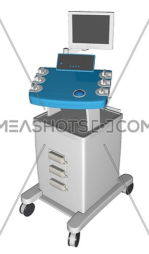 EGC or electrocardiogram device or cardiograph, 3D illustration, isolated against a white background.
