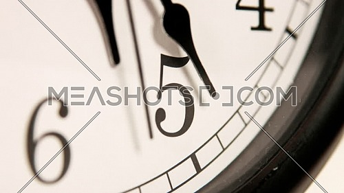 White wall clocks running. The movement of the clock hands.