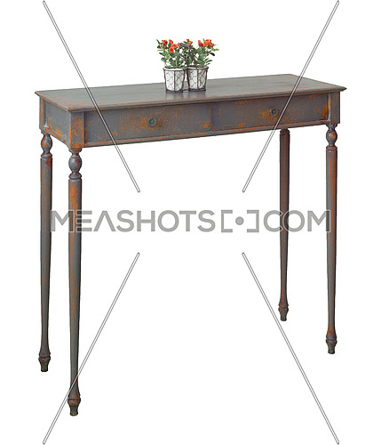 Vintage Furniture - Old style desktop flower planter with red flowers and green leaves on the top of retro wooden vintage table with two drawers painted in grey and orange isolated on white, including clipping path