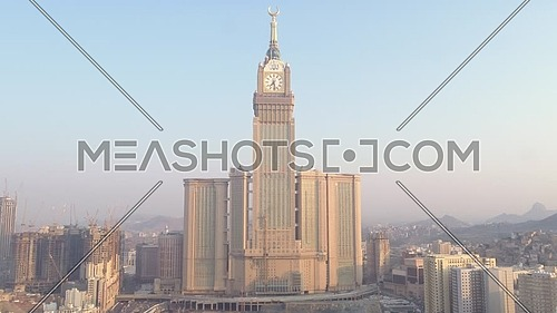 Ariel Shot from drone for Mekkah City showing Royal Clock Tower at Day.