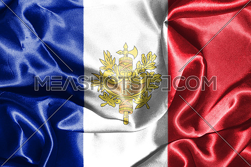 National Flag Of France With Coat Of Arms On It 3D illustration