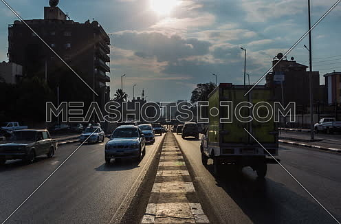 Track Right Shot for traffic at Salah Salim Street showing Al Orouba Tunnel in background at Daytime