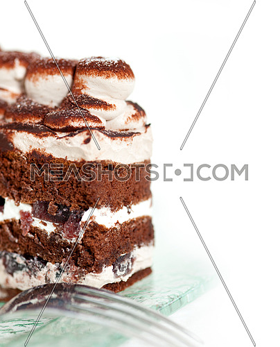 fresh whipped cream dessert cake slice with cocoa powder on top