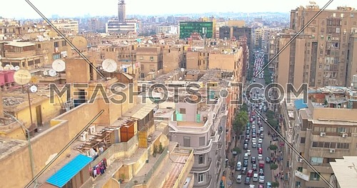 Reveal shot Drone for Traffic and buildings in Cairo Downtown at day