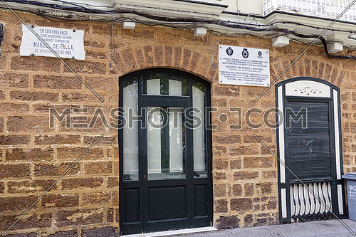 Cadiz Spain- April 1: House where born the Spanish composer Manuel de Falla on 23 November 1876, registration indicates in marble indicates its conmemoracion, taken in Cadiz, Andalusia, Spain