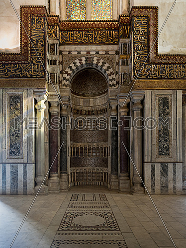 Decorated wall with ornate sculpted niche in a historic mosque, Cairo, Egypt