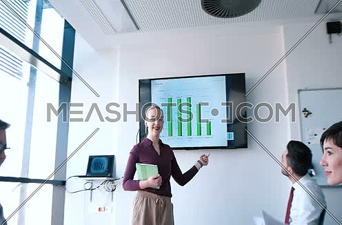 Presenting crowdsourcing plan idea to tech startup investors in trendy office
