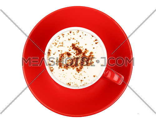 Close up one latte cappuccino coffee with CAFE word shaped chocolate milk topping in red cup with saucer isolated on white background, elevated top view, directly above