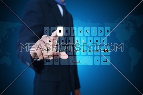 Man showing computer keys in color background