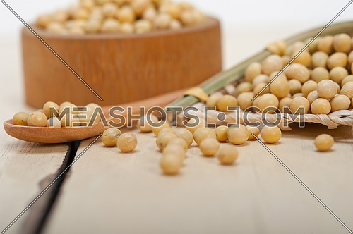organic soya beans over rustic wood table macro closeup