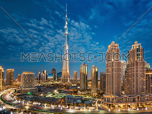 Dubai Downtown with Burj Khalifa Panoramic View in the blue hour