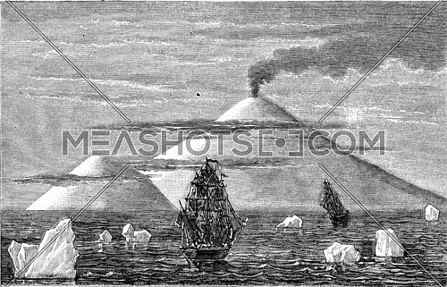 South Pole, Volcano Island in Beaufort, vintage engraved illustration. Magasin Pittoresque (1882).