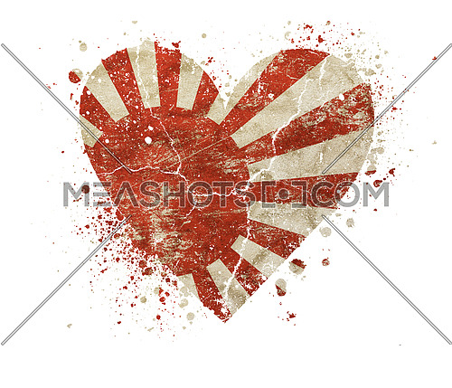 Heart shaped old grunge vintage dirty faded shabby distressed Japan, Nippon or Nihon koku flag with bang splash isolated on white background