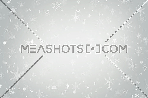 Abstract neutral cool silver grey Christmas holiday winter background of falling snow bokeh and snowflakes