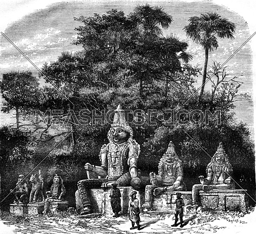 Hindu idols near villages, vintage engraved illustration. Magasin Pittoresque 1876.