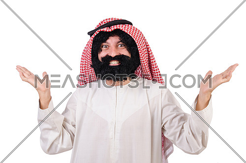 Funny arab man isolated on white