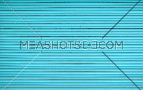 Teal blue painted horizontal metal window roller shutter blinds or garage doors background texture