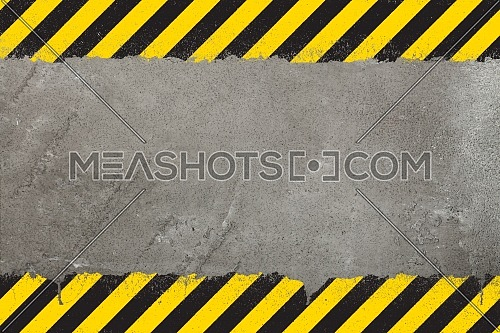 Concrete weathered wall background with yellow and black painted grunge hazard sign stripes and copy space