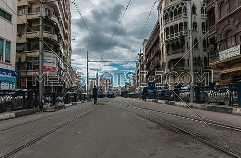 Fixed shot for Trams moving at Alexandria at Day