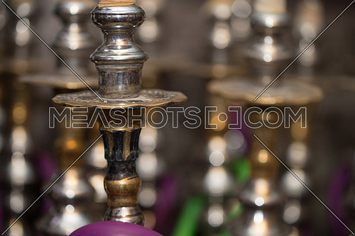 Close-up Of Several Hookahs Lined Up In A Cafe Bar