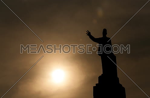 Fixed Sillhout Shot for Saad Zaghloul Statue at Cairo from Day to Sunset