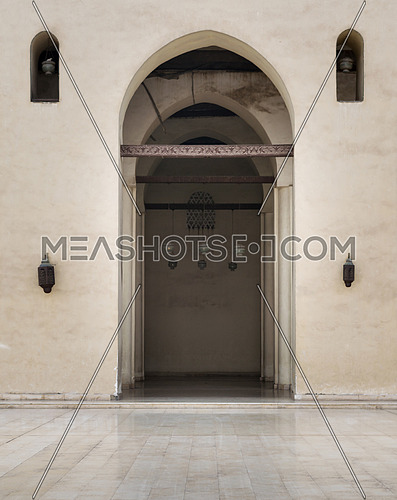 One of the arches surrounding the courtyard of the Enlightened Mosque, Cairo, Egypt
