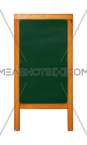 Close up green standing blank clean chalkboard menu in brown wooden frame isolated on white background